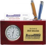 High Gloss Rosewood Desk Clock and Card Holder Boss Gift Awards